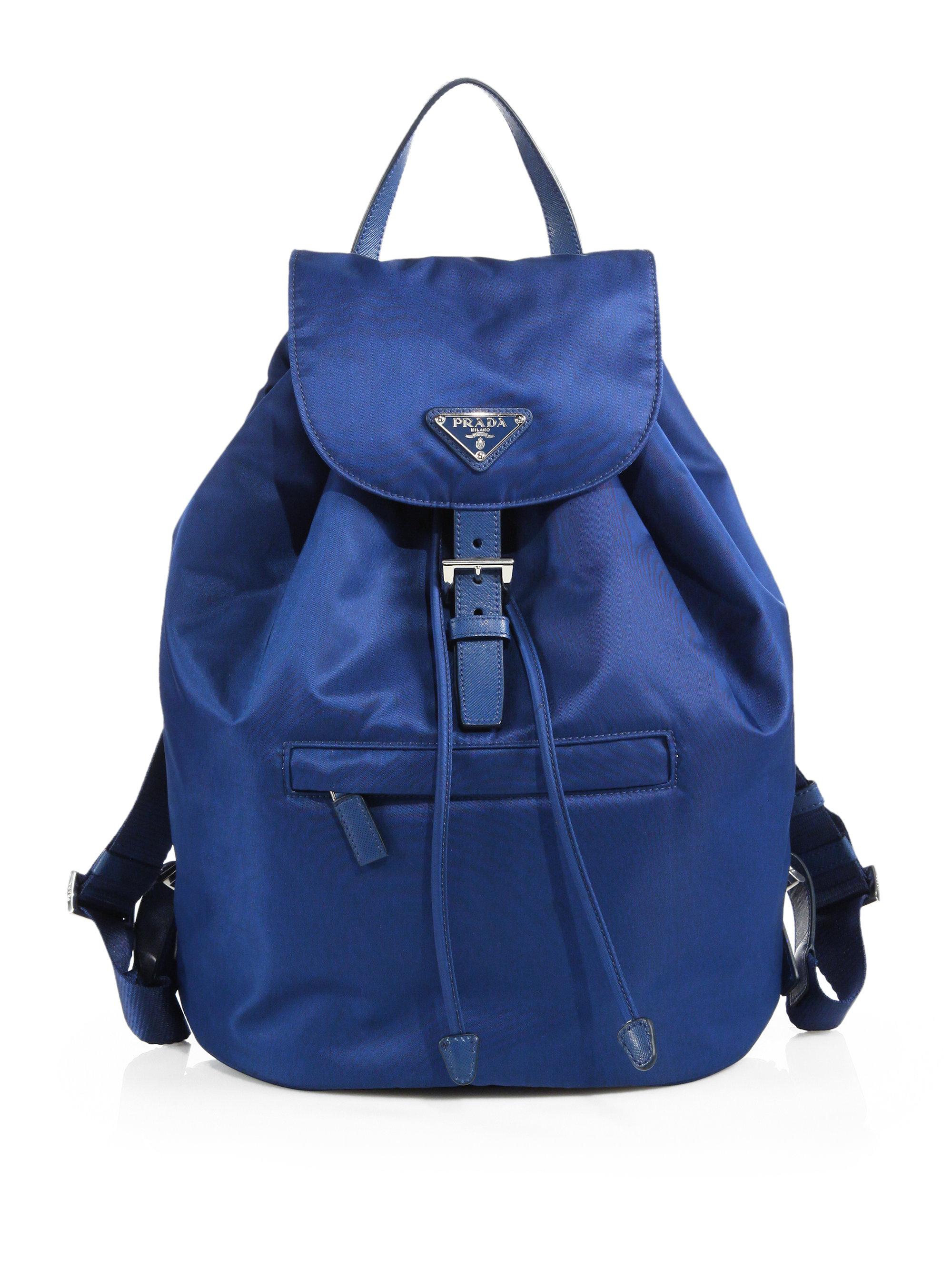 Prada Vela Backpack in Blue (ROYAL-BLUE) | Lyst
