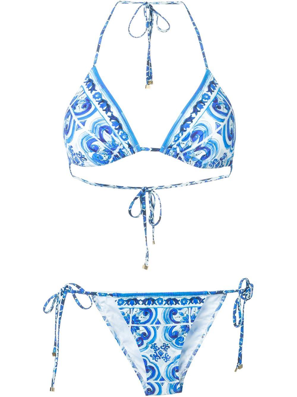 3e7443e09c64ef Dolce & Gabbana Majolica Print Bikini in Blue - Lyst