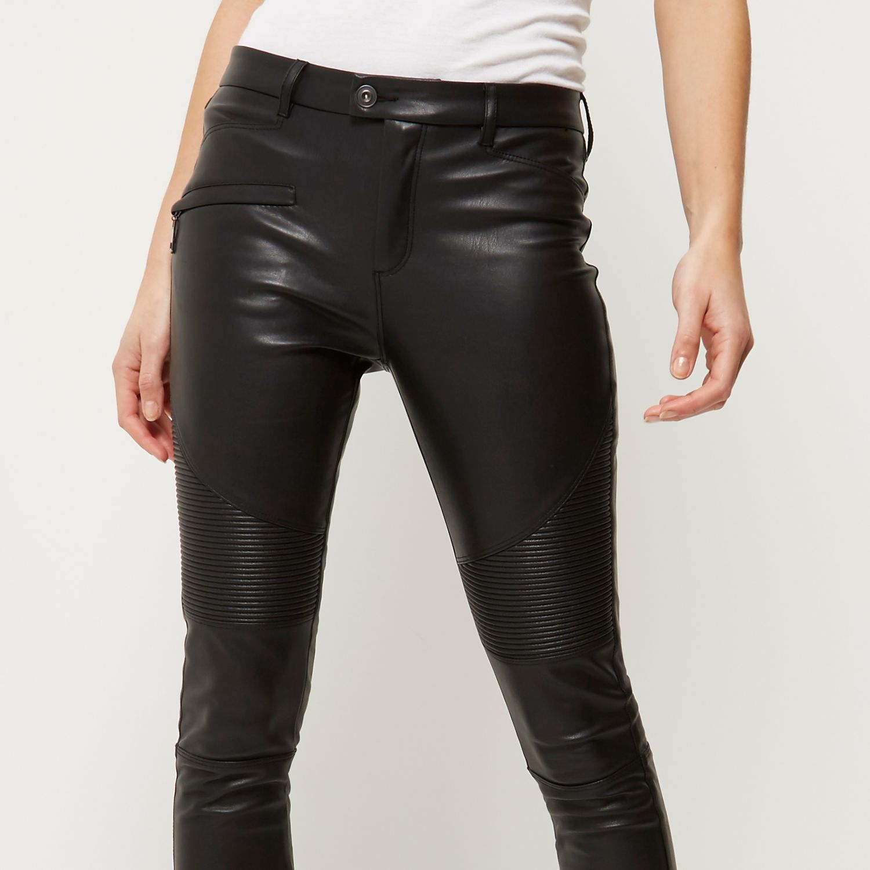 River Island Leather Zip Biker Trousers