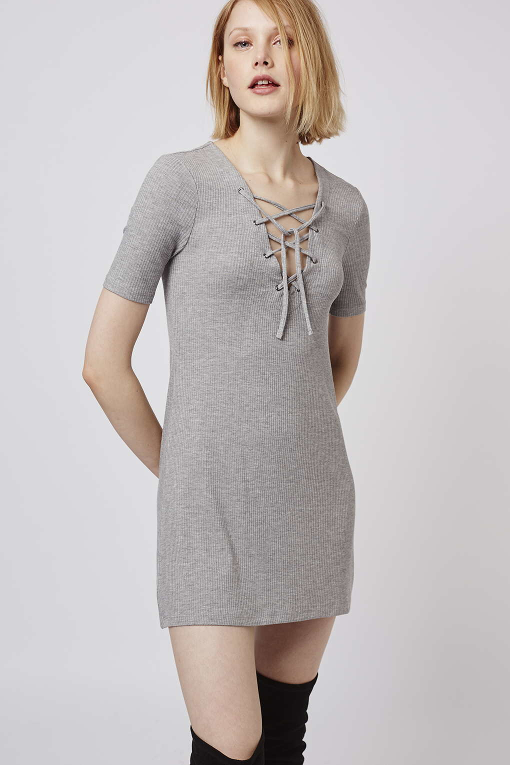 Lyst - TOPSHOP Petite Lace Up Tunic Dress in Gray e05b76aa8
