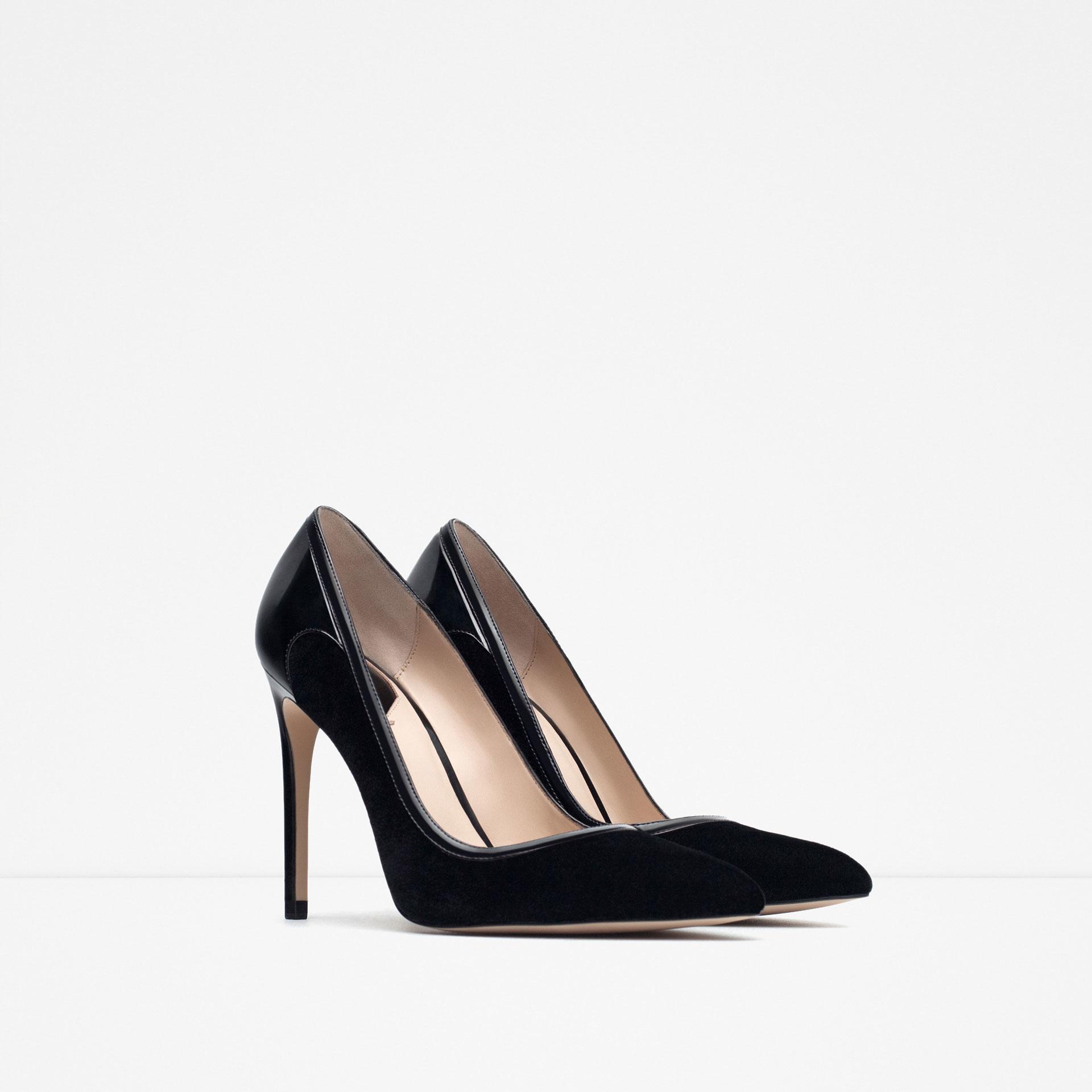 zara velvet high heel shoes in black lyst