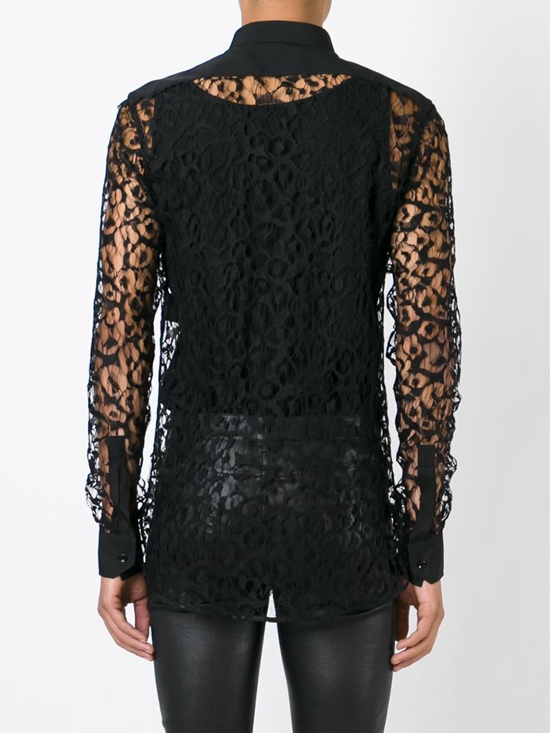 Lyst - Saint Laurent Sheer Lace Shirt in Black for Men