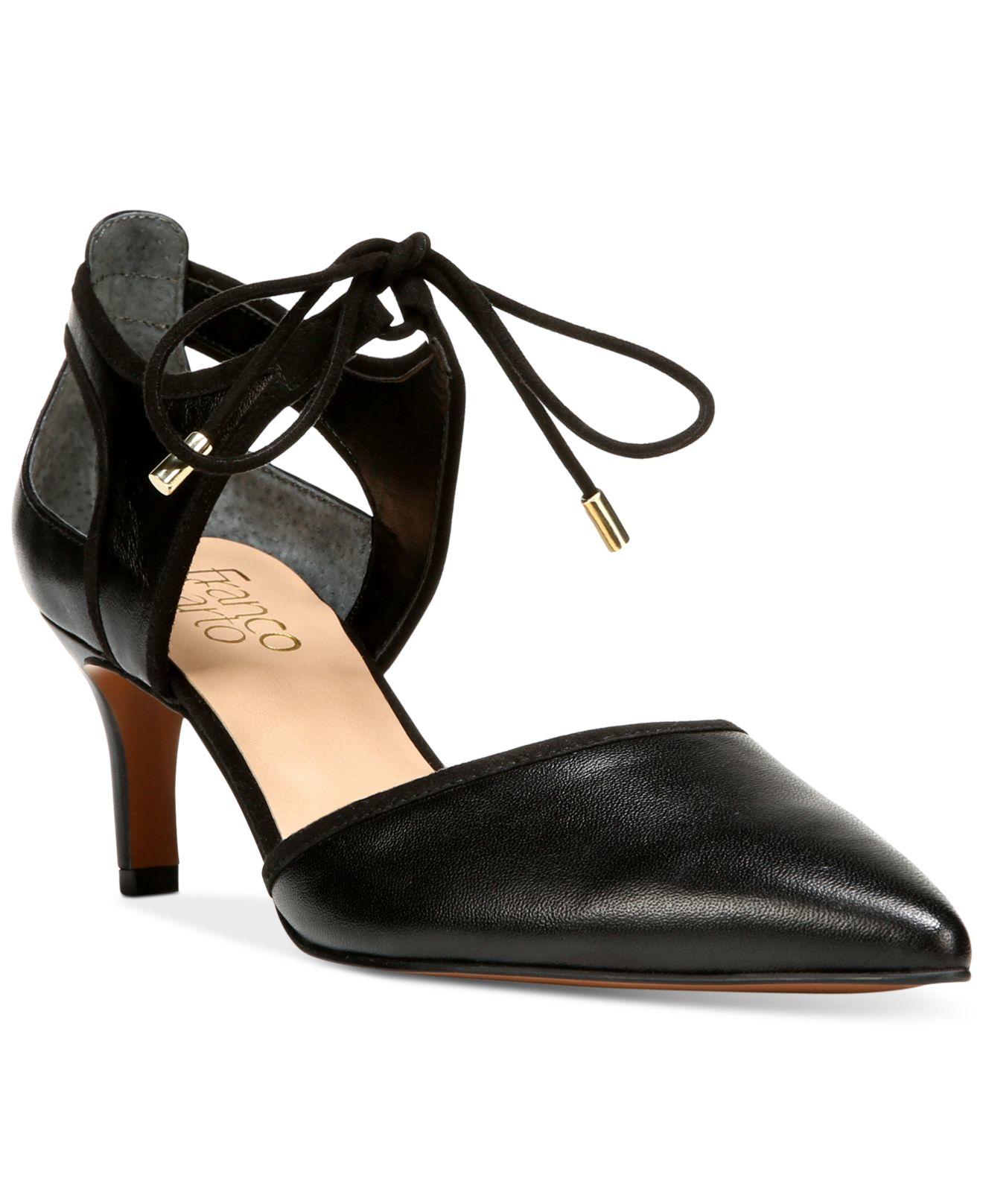 Franco Sarto Darlis Ankle Tie Pointed Toe Pumps In Black