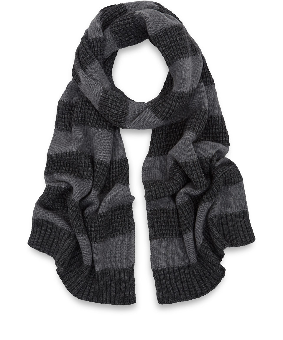 Oliver spencer Grey Texture Stripe Merino Woolblend Scarf in Black ...