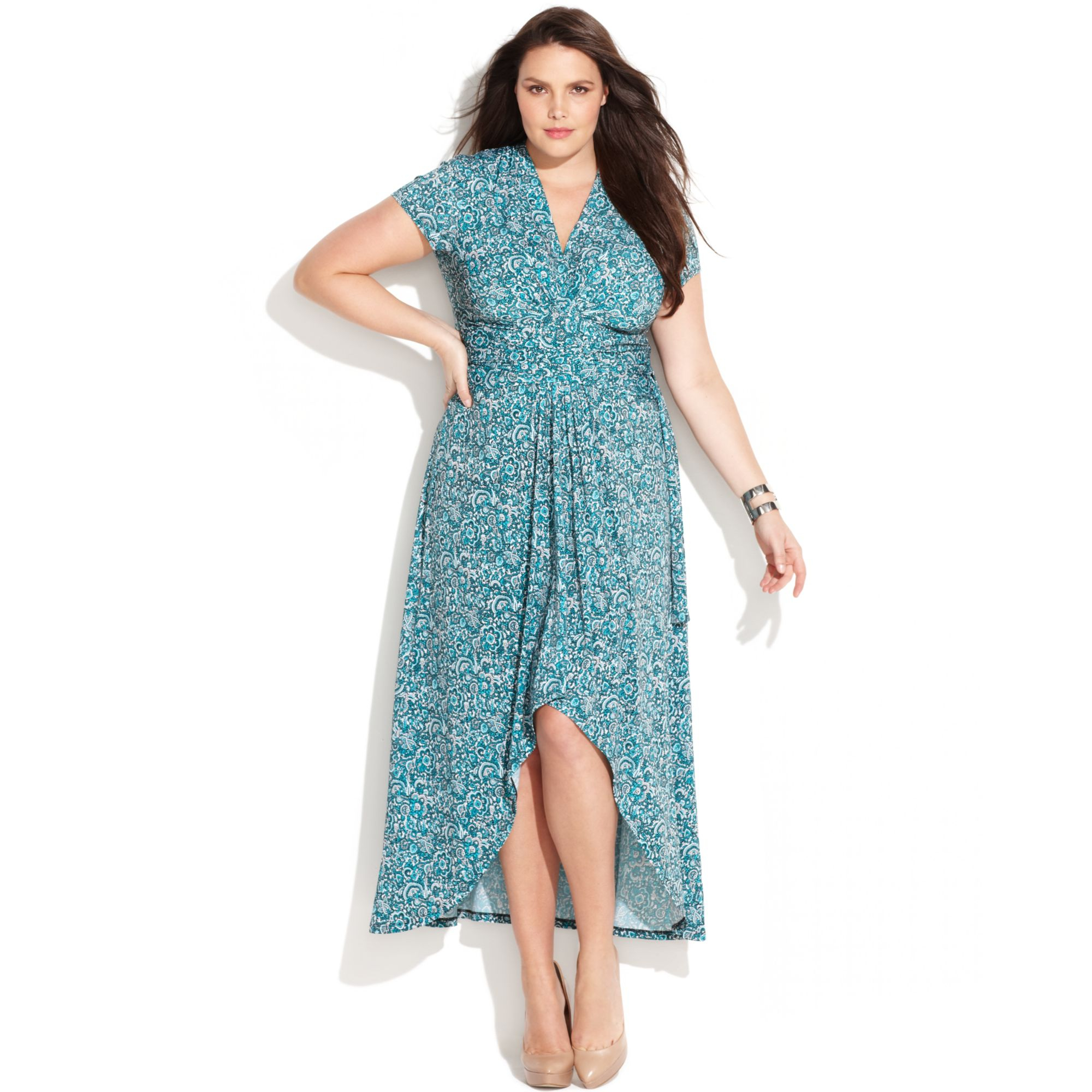 bc5a4187962 Lyst - Michael Kors Plus Size Printed Faux Wrap Maxi Dress in Blue