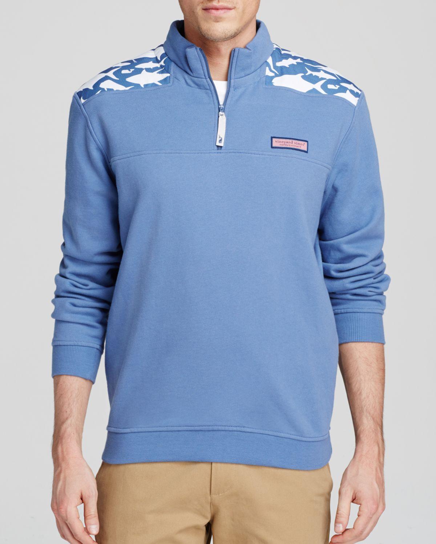 Vineyard vines fish print shep shirt in blue for men lyst for Vineyard vines fishing shirt