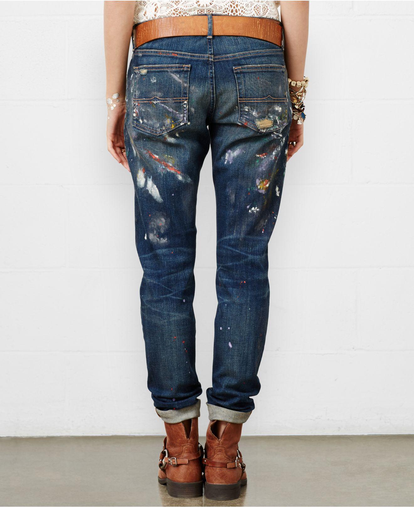 denim supply ralph lauren paint splatter boyfriend jeans. Black Bedroom Furniture Sets. Home Design Ideas