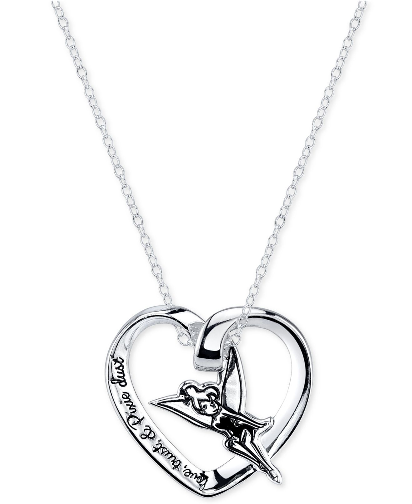 Lyst disney engraved tinker bell pendant necklace in sterling gallery mozeypictures Images