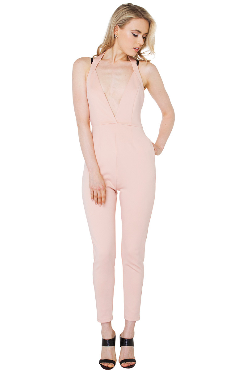 Akira black label Heartbreak City Blush Jumpsuit in Pink | Lyst