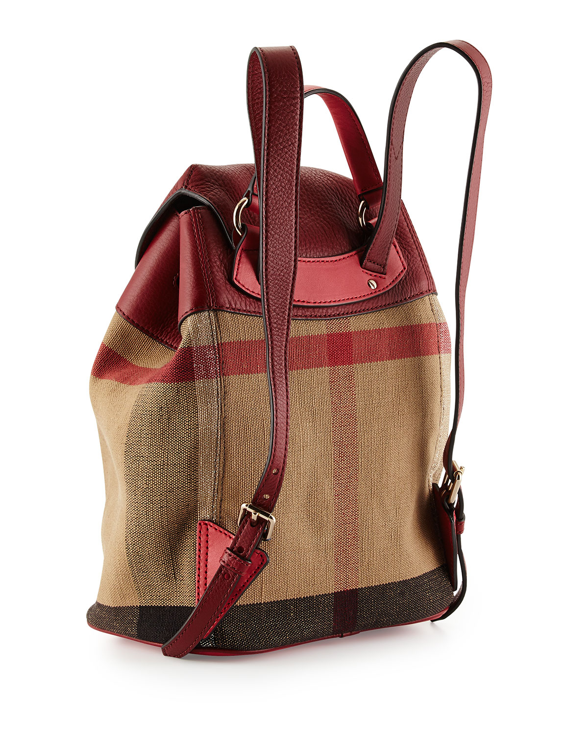 4886a859d1b1 Lyst - Burberry Mini Check Canvas Backpack in Natural