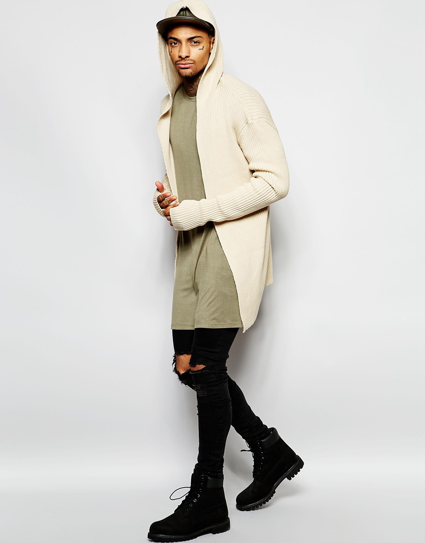 Underated Longline Hooded Cardigan in Natural for Men | Lyst