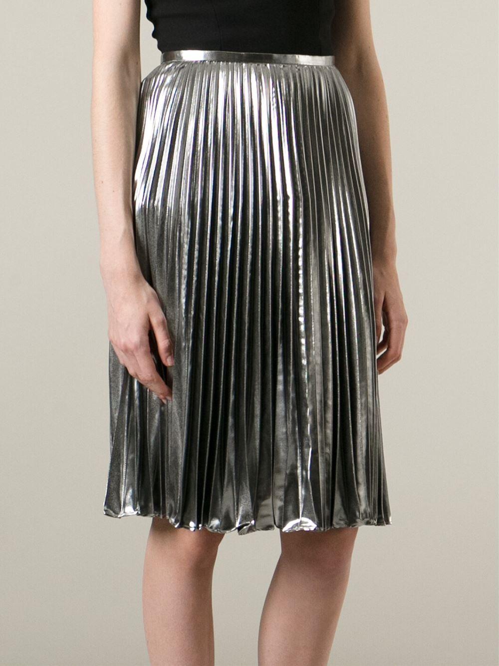 Michael michael kors Pleated Metallic Skirt in Metallic | Lyst