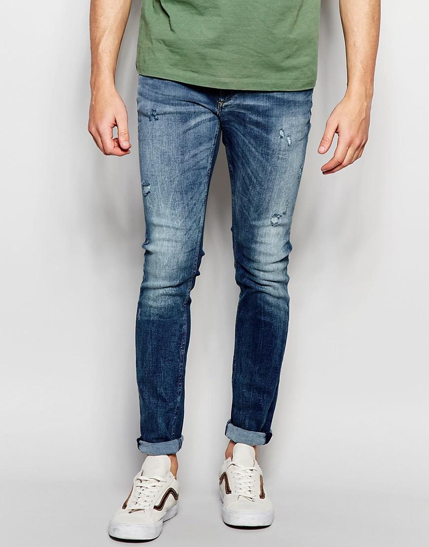 jack jones skinny fit jeans in blue in multicolor for men bluedenim. Black Bedroom Furniture Sets. Home Design Ideas