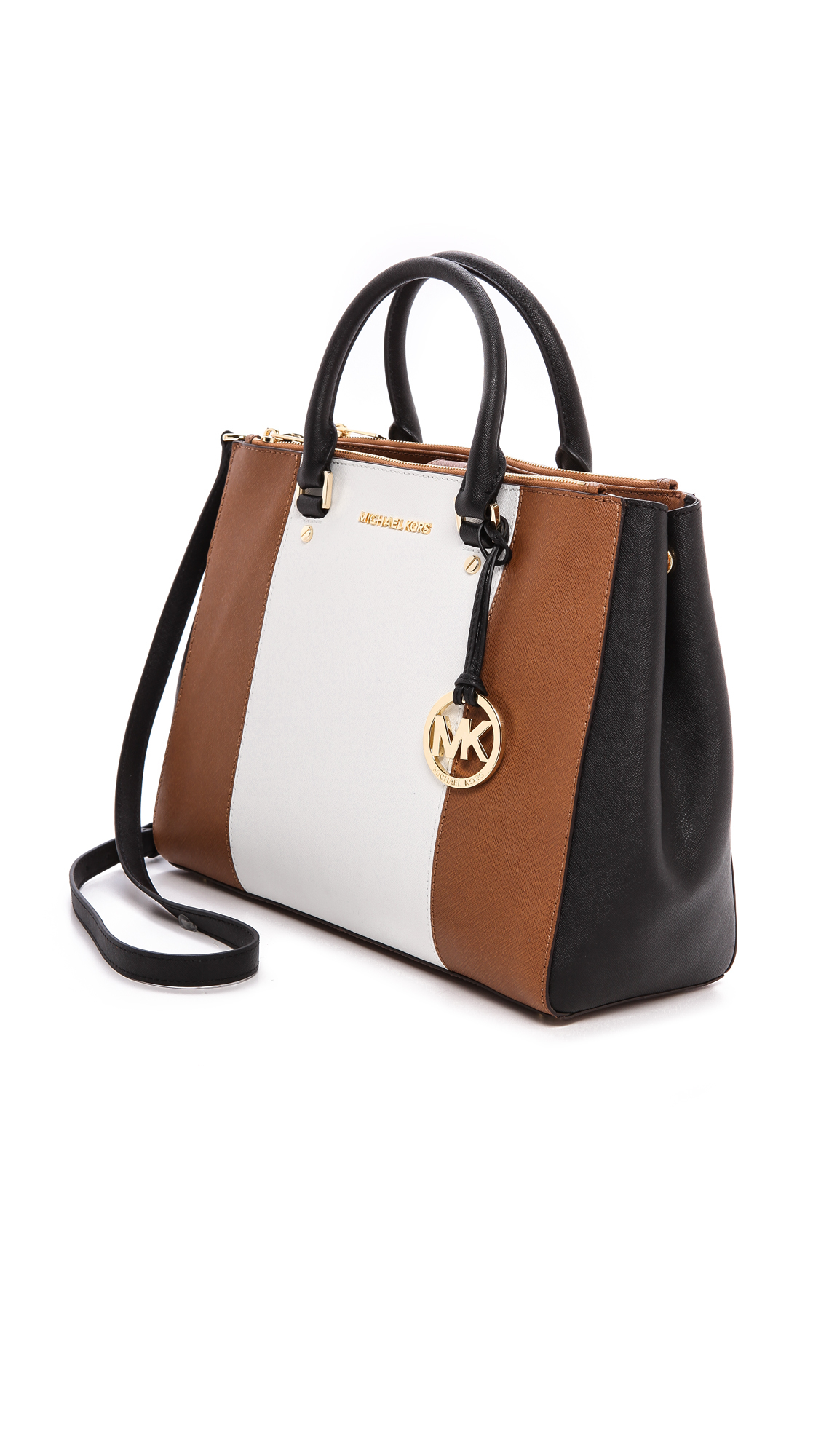 757f9c1307f1 Lyst - MICHAEL Michael Kors Sutton Center Stripe Large Satchel ...