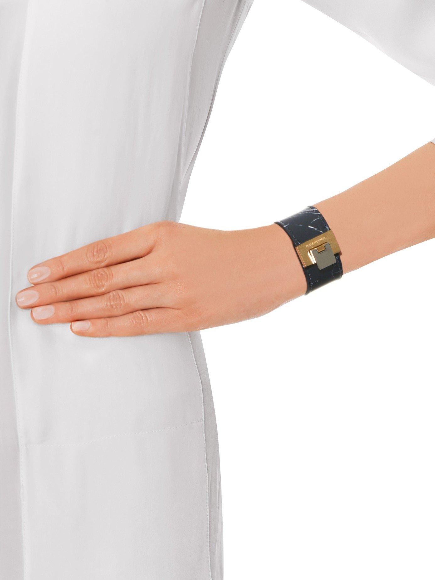 e4a344c5ad5c5 Lyst - Balenciaga Le Dix Marble-Print Leather Cuff in Black