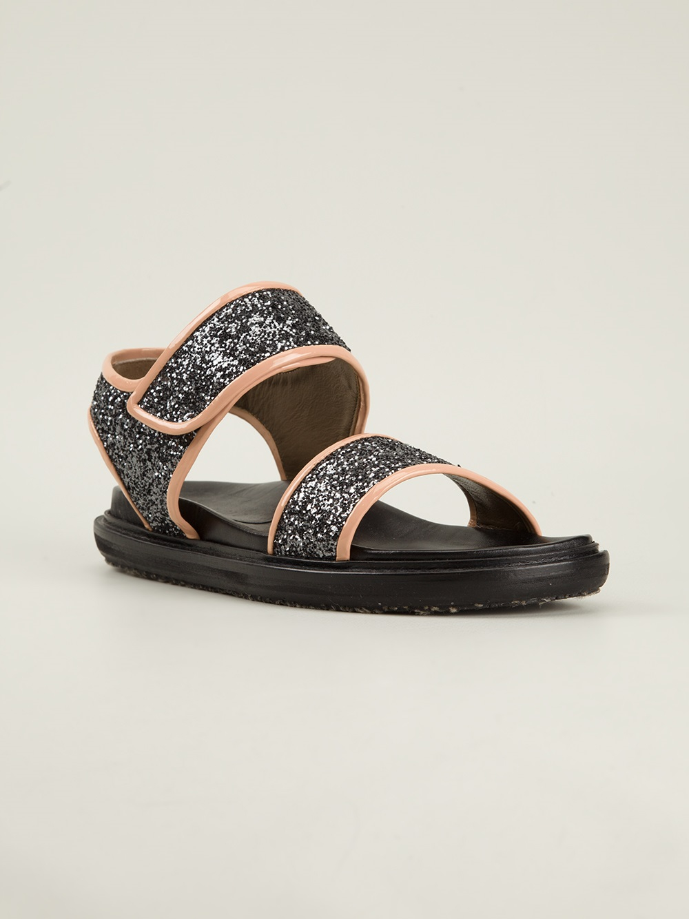 Glitter leather crossover sandals Marni 2S17fNvFx