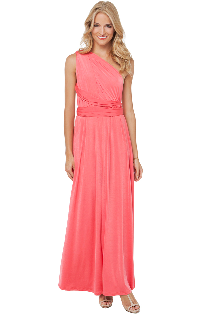 Akira Multi Function Dress in Coral in Pink