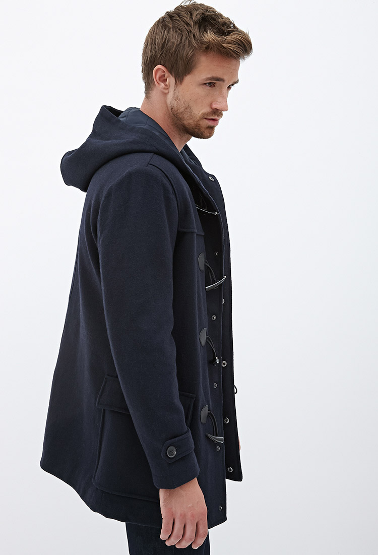 Forever 21 Hooded Wool-blend Duffel Coat in Blue for Men | Lyst