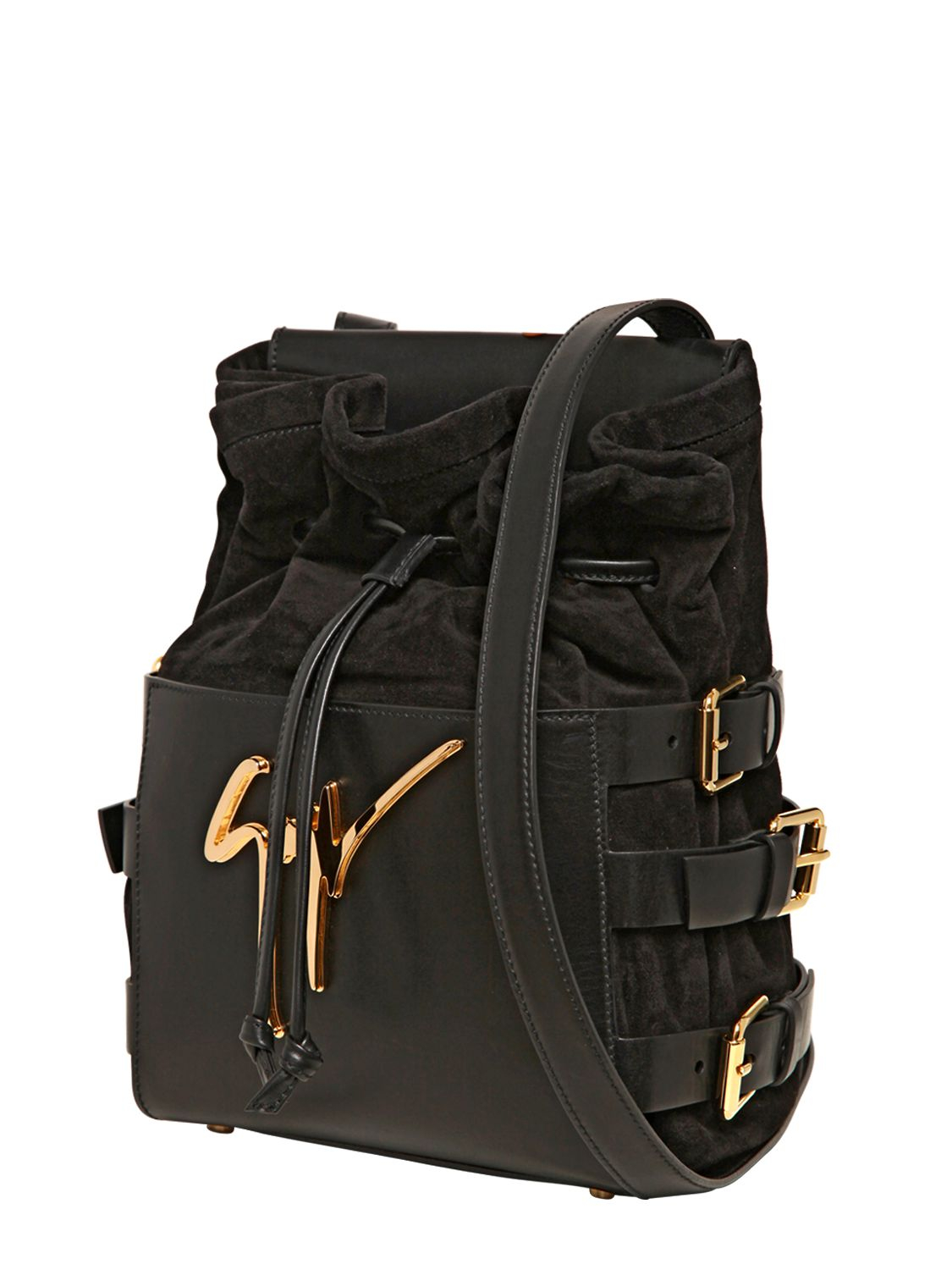 Giuseppe Zanotti Side Buckled Suede Nappa Leather Bag In