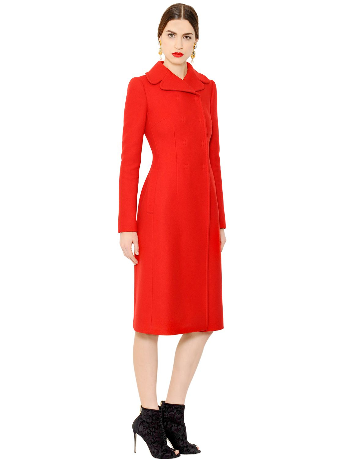 Dolce & gabbana Wool & Cashmere Coat in Red | Lyst