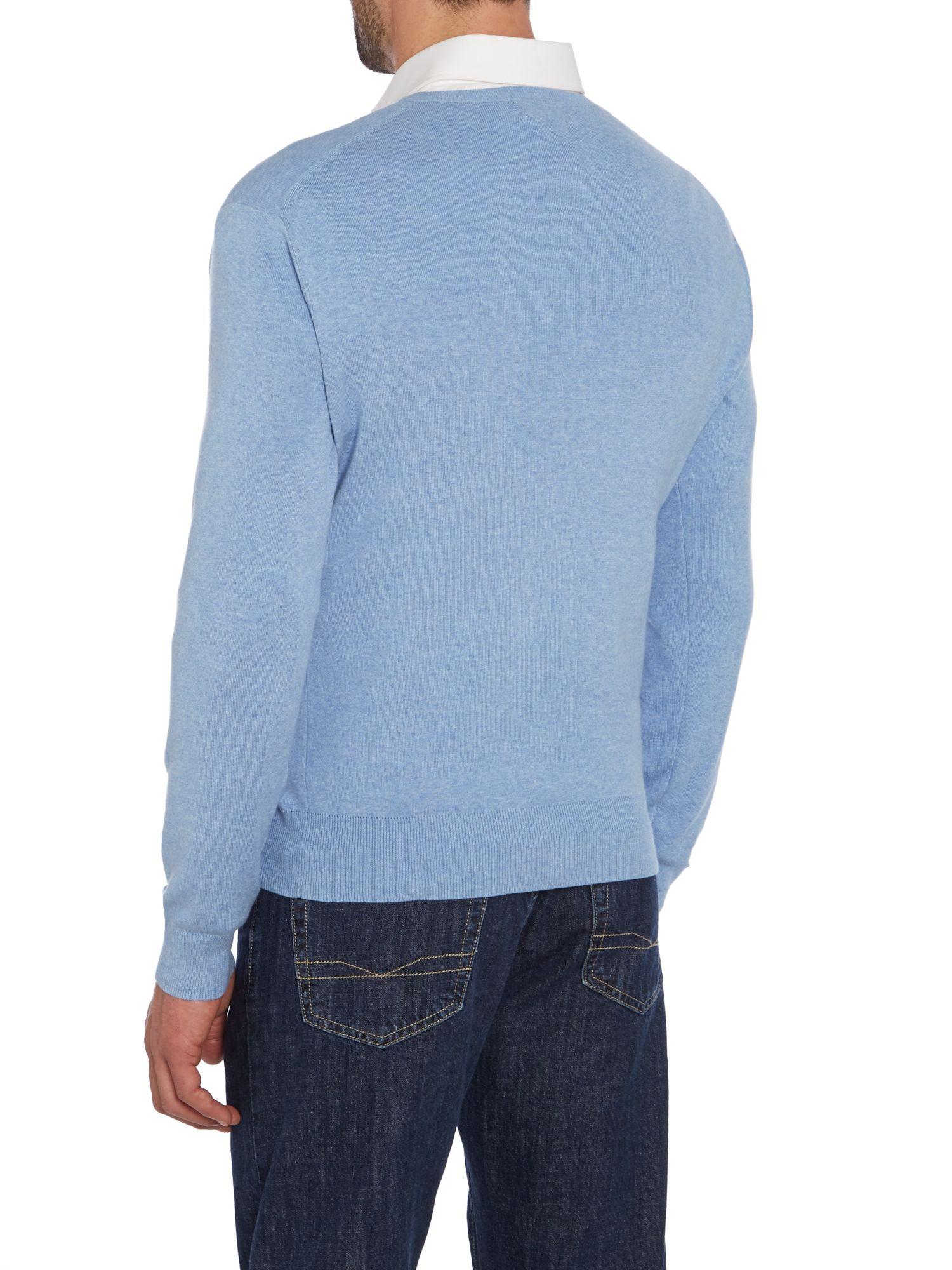 polo ralph lauren v neck slim fit pima cotton jumper in. Black Bedroom Furniture Sets. Home Design Ideas