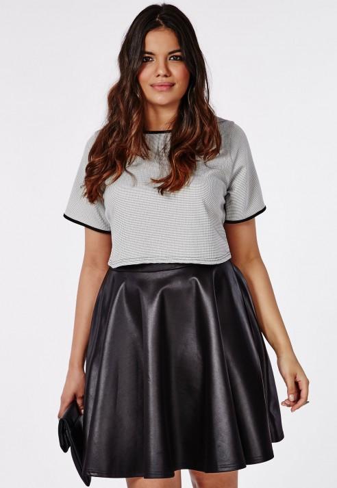 Lyst Missguided Plus Size Wet Look Skater Skirt In Black