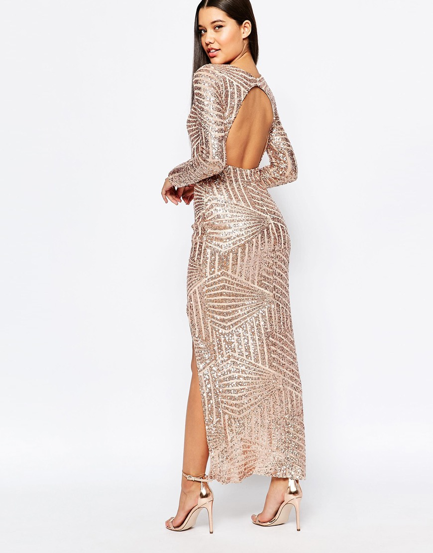 e1f1e97041b Club L Geo Sequin Fishtail Maxi Dress With Open Front in Pink - Lyst