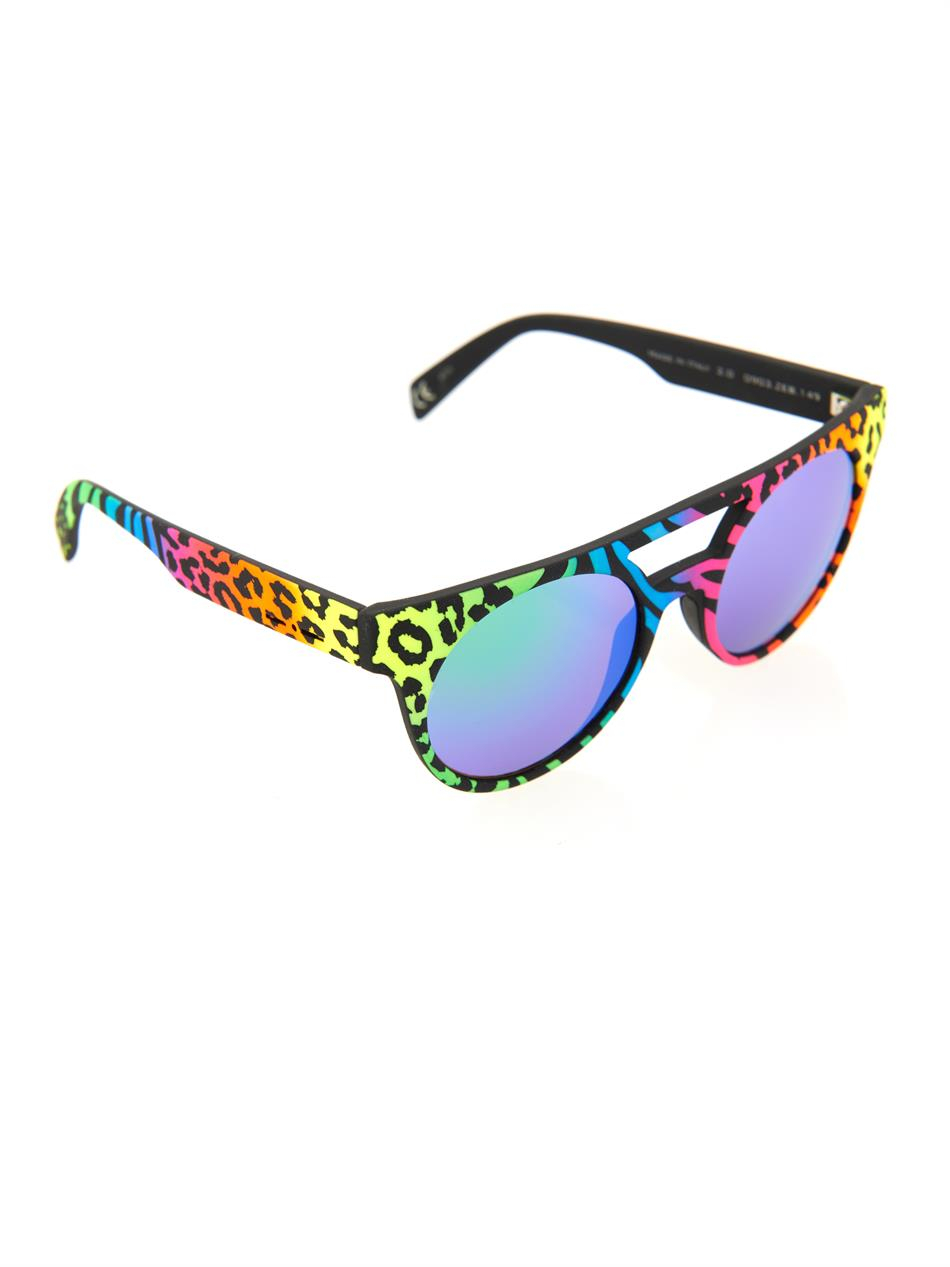 3af1a6a07401 Italia Independent Neon Round-Framed Mirrored Sunglasses - Lyst