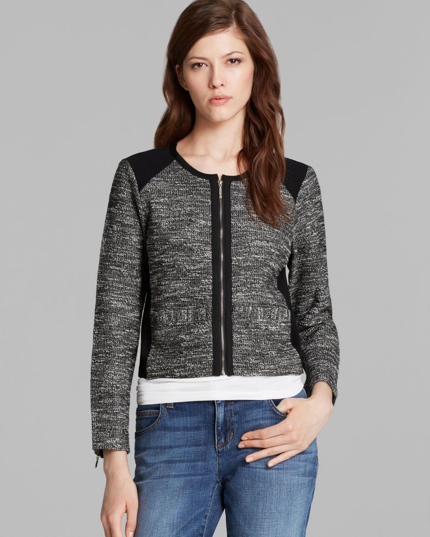 Eileen fisher Short Tweed Jacket in Black   Lyst