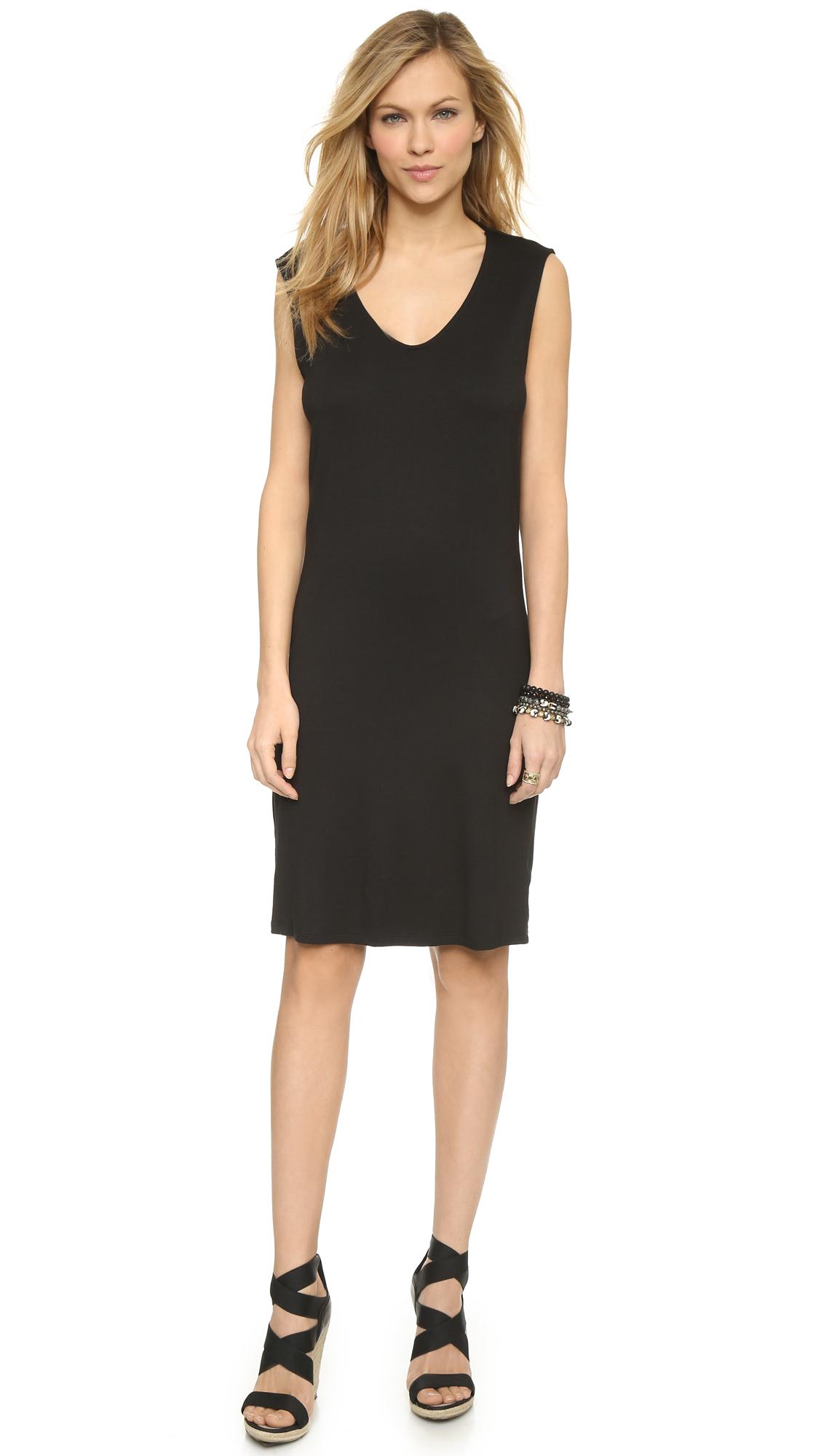 Three dots Draped Back Sleeveless Dress - Black in Black ...