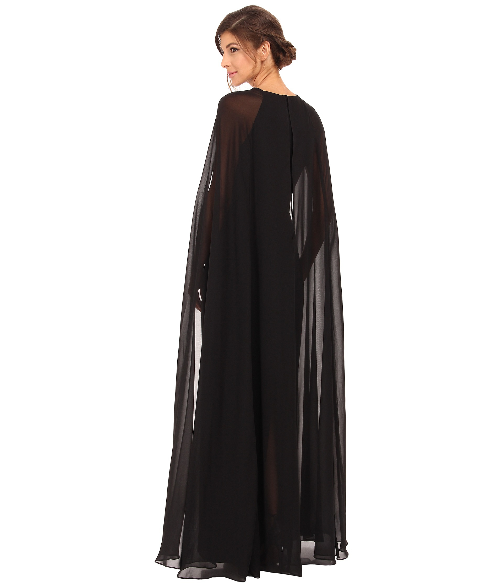 Lyst Vince Camuto Fitted Crepe Gown W Chiffon Cape In Black