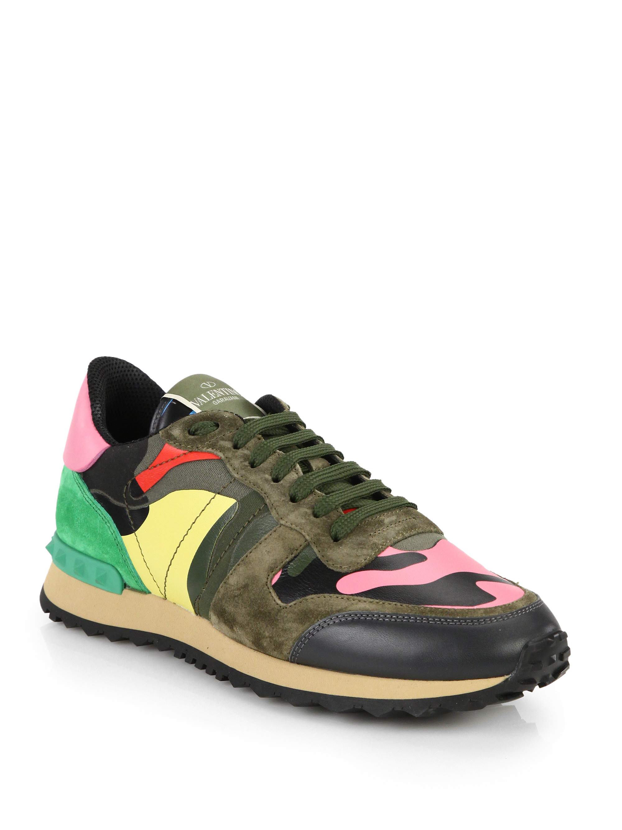 valentino mixed media camouflage sneakers for men lyst. Black Bedroom Furniture Sets. Home Design Ideas