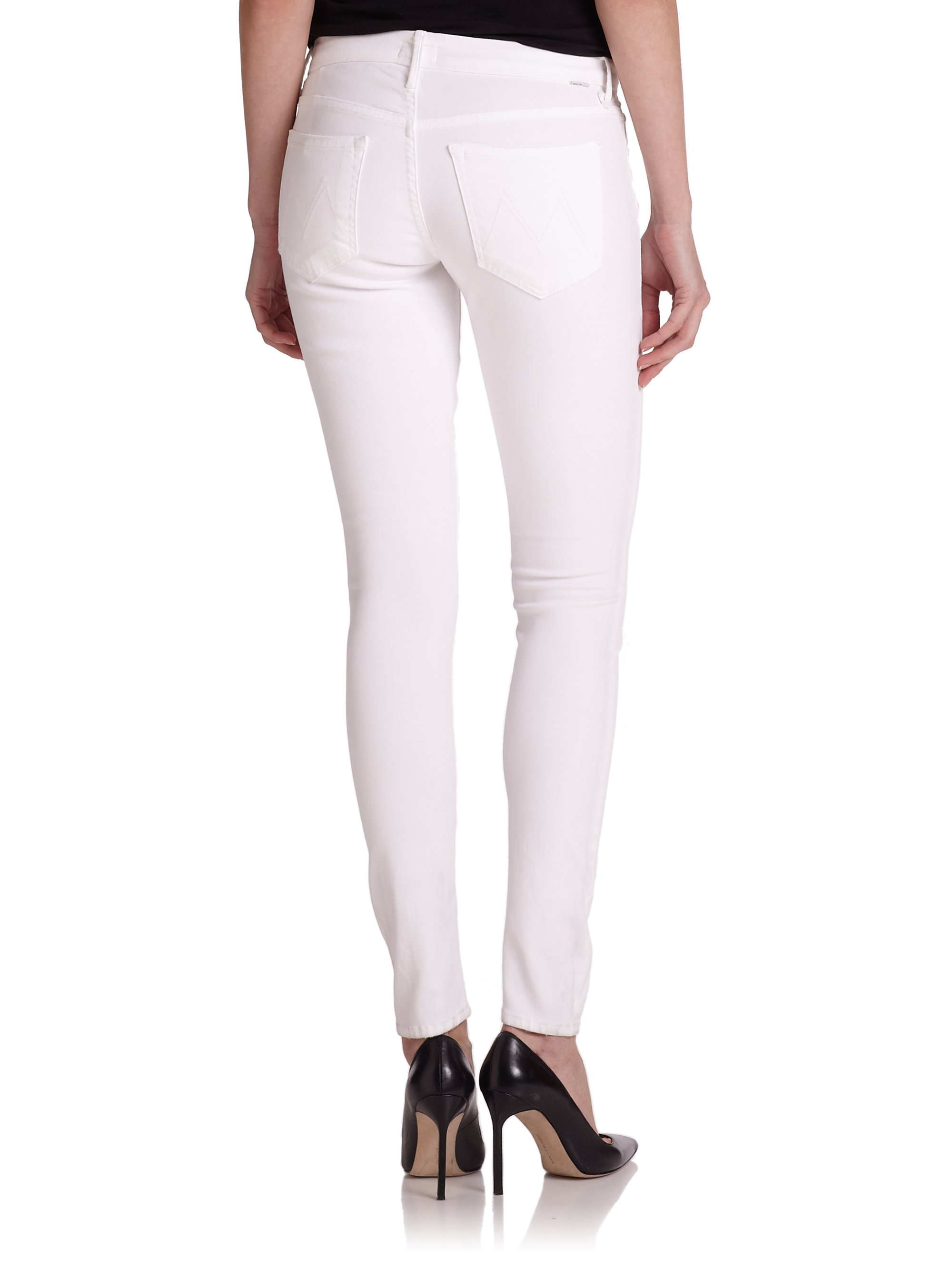 Mother The Looker Skinny Jeans in White | Lyst