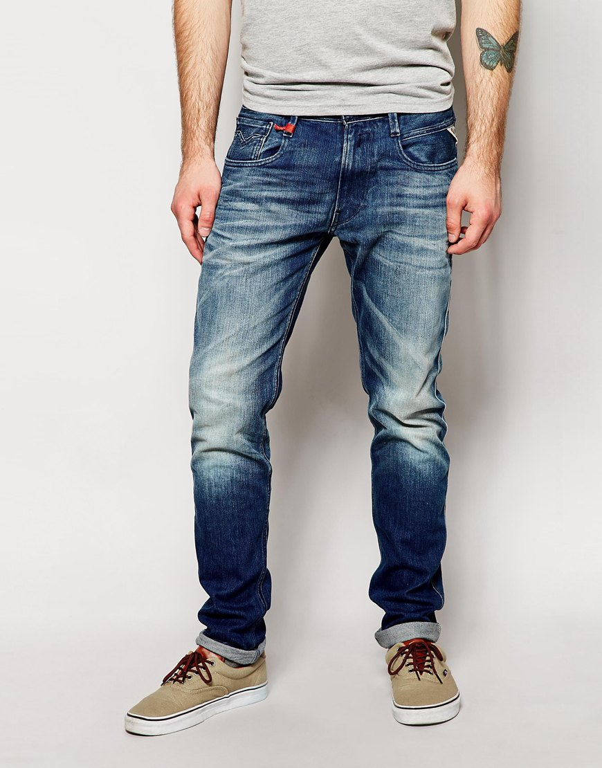 Replay Jeans Anbass Slim Fit Stretch Mid Wash in Blue for ...