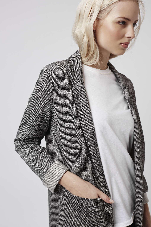 d0eb6868279 TOPSHOP Stripe Twill Utility Pocket Boyfriend Jacket in Black - Lyst