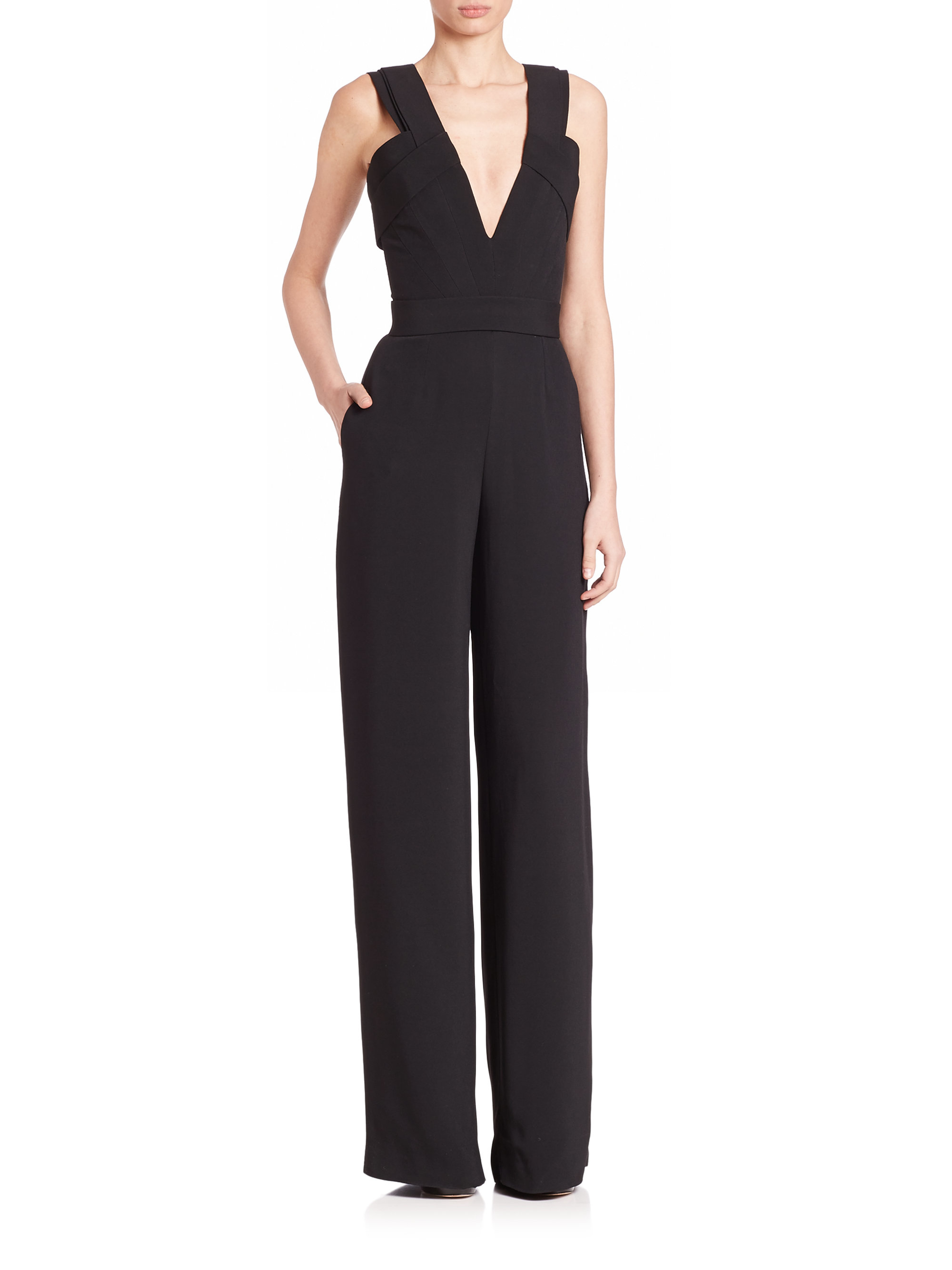7694a737ace9 Lyst - Brandon Maxwell Crepe Jumpsuit in Black