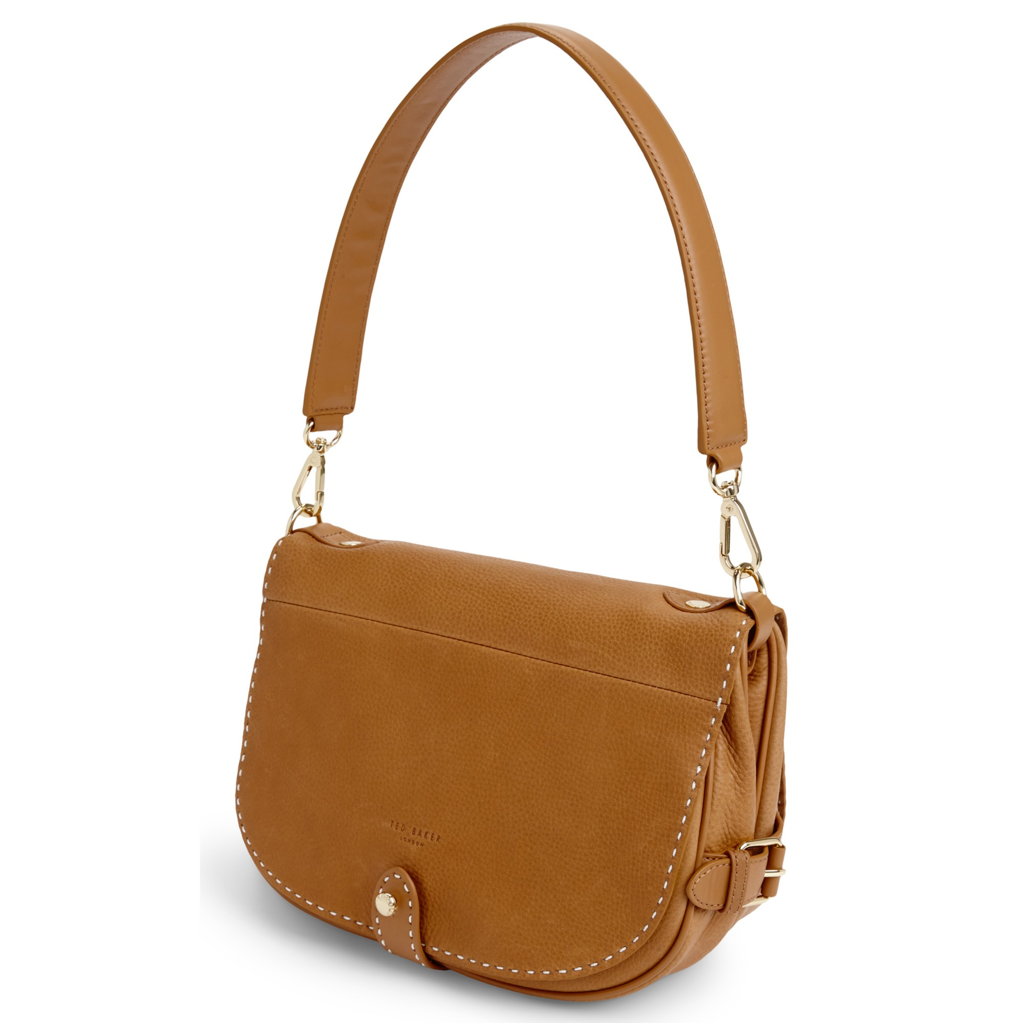 376a2d86a1e3 Ted Baker Leather Stab Stitch Saddle Shoulder Bag in Brown - Lyst
