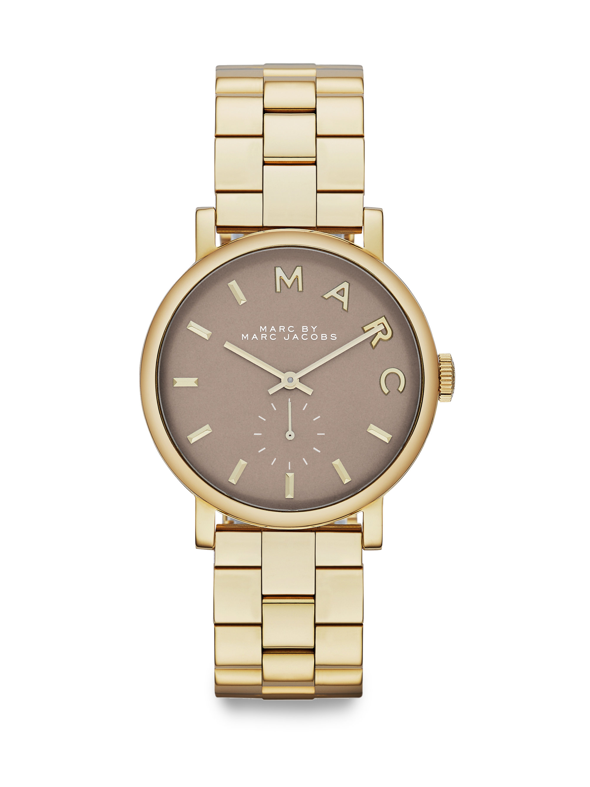 Lyst marc by marc jacobs baker goldtone stainless steel bracelet watch in metallic for Stainless steel watch