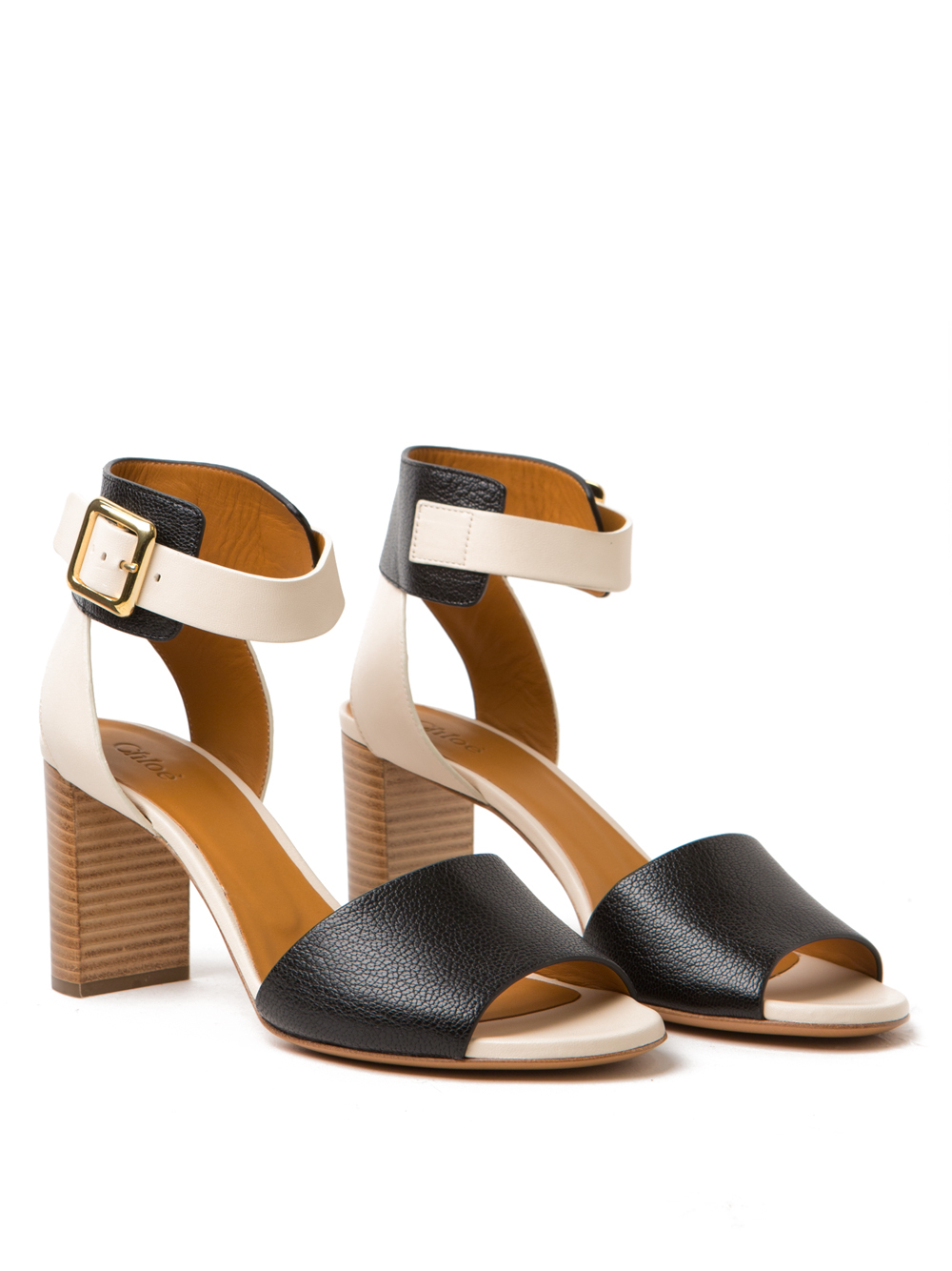 chlo 233 colorblock heel sandal in white lyst