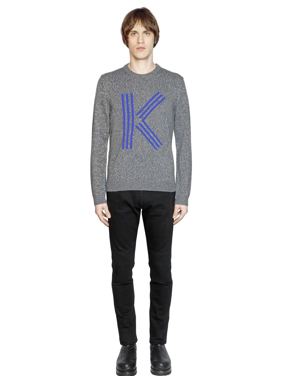 kenzo k intarsia lambswool blend sweater in gray for men lyst. Black Bedroom Furniture Sets. Home Design Ideas