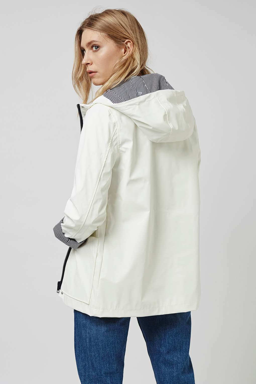 Topshop Petite White Rain Mac in White | Lyst
