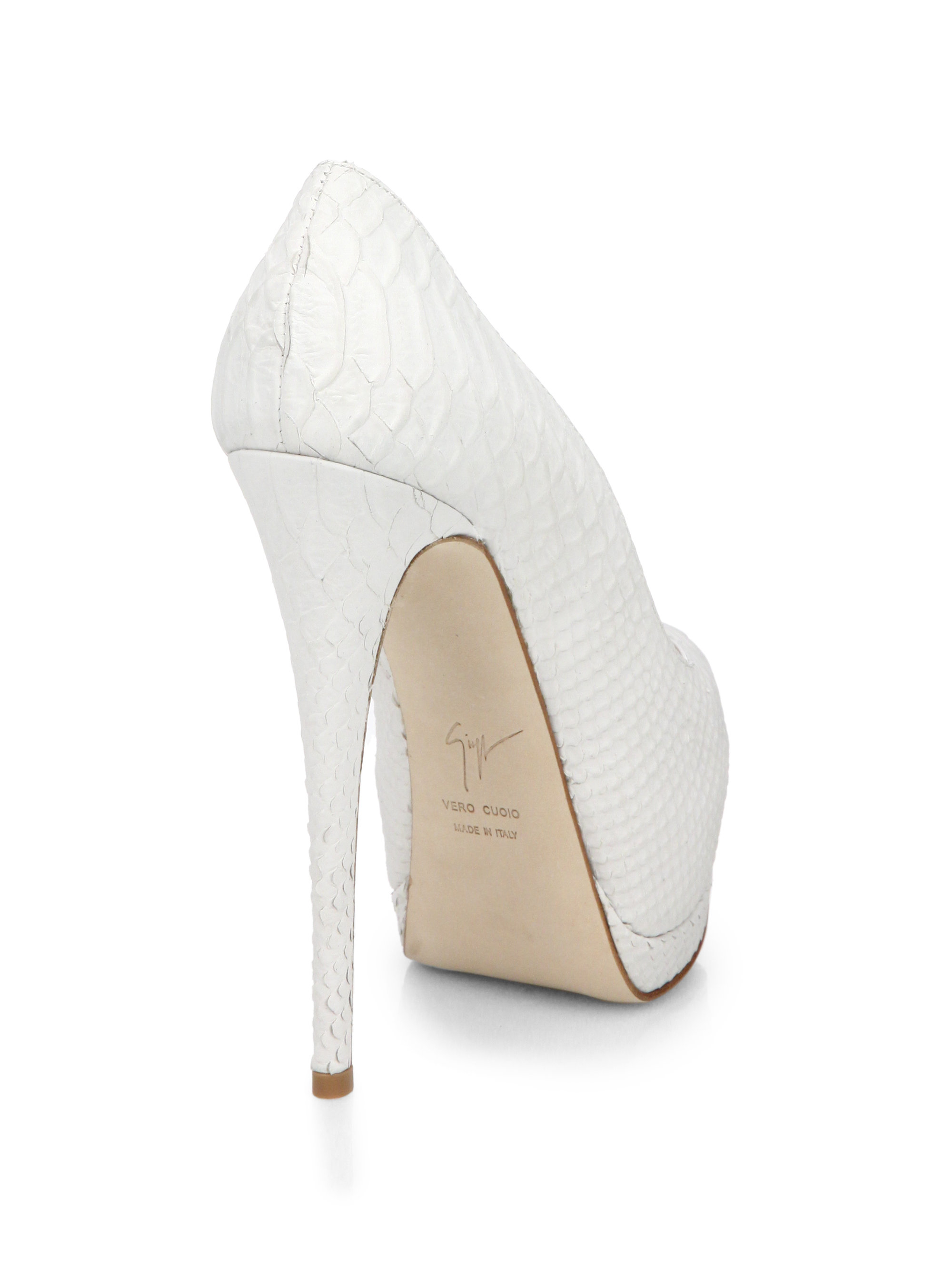 5we1rPT Giuseppe Zanotti Women Peep Hole Boots White Leather 130Mm UK