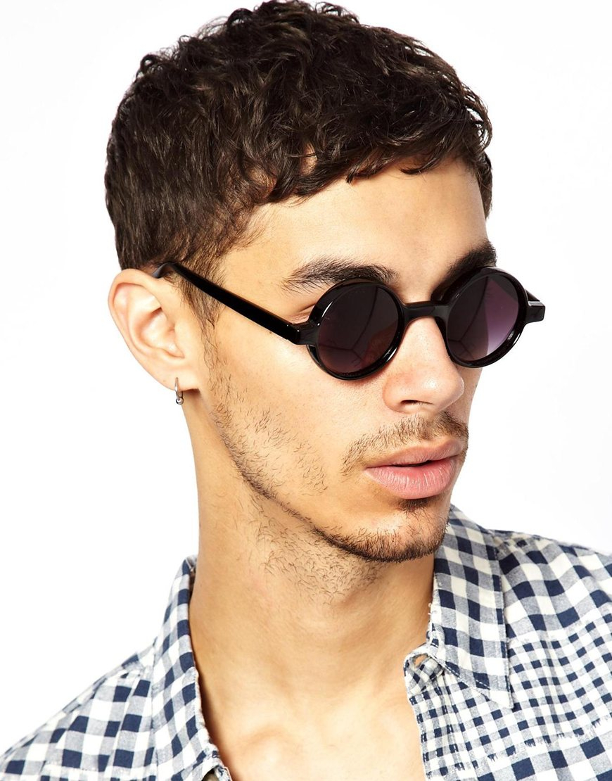 Men Round Sunglasses  asos chunky round sunglasses in black for men lyst