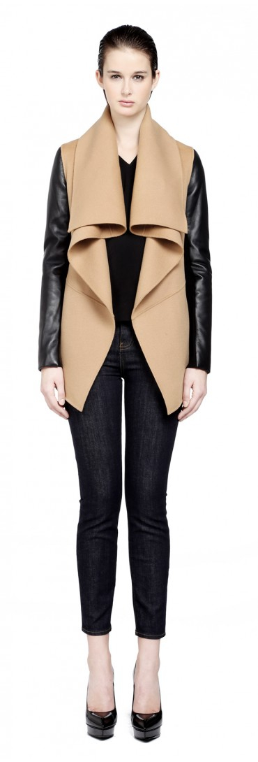 Mackage Vane Camel Wool Coat with Leather Sleeves in Natural | Lyst