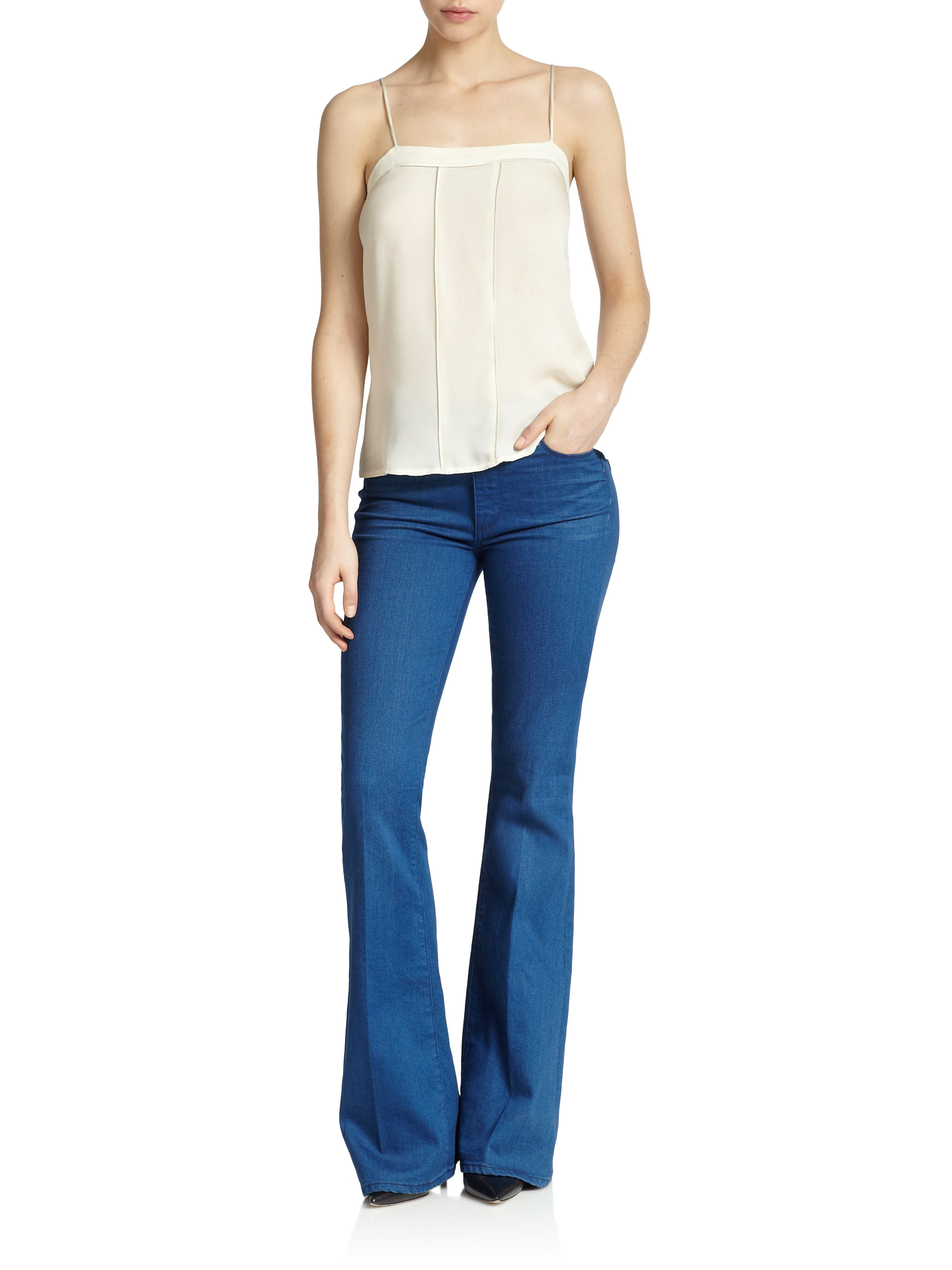 Paige Bell Canyon High-Rise Flared Jeans in Blue | Lyst