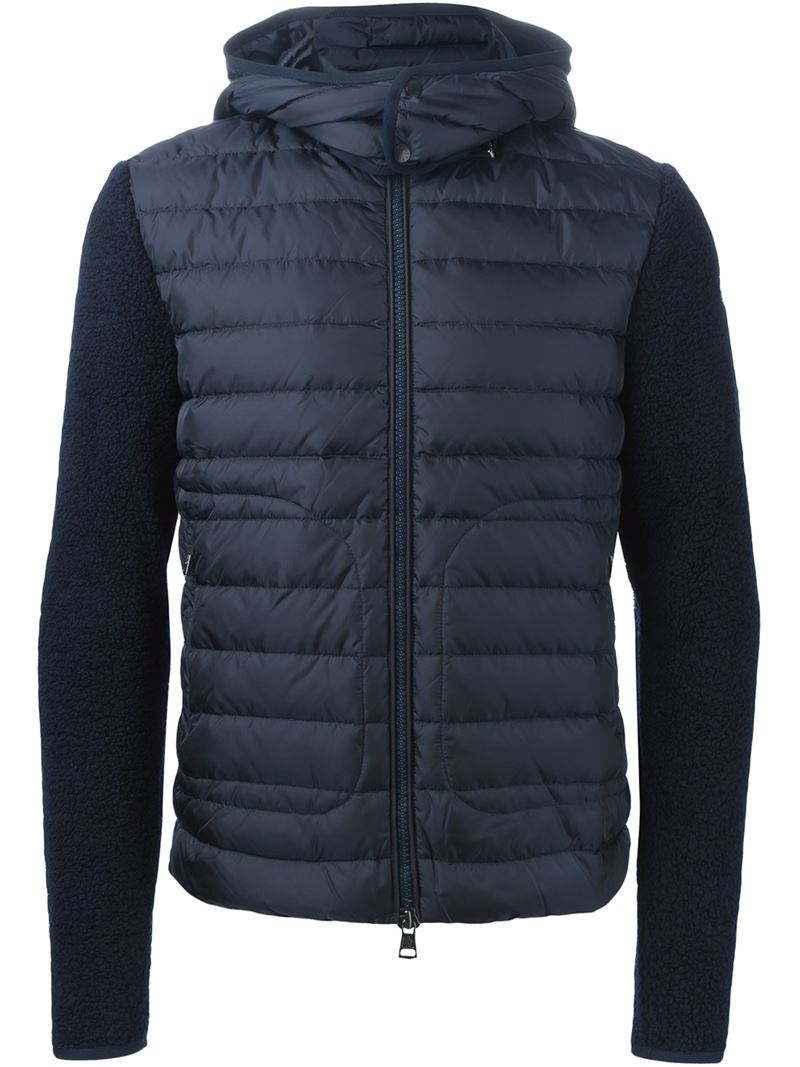 Lyst Moncler Hooded Padded Jacket In Blue For Men