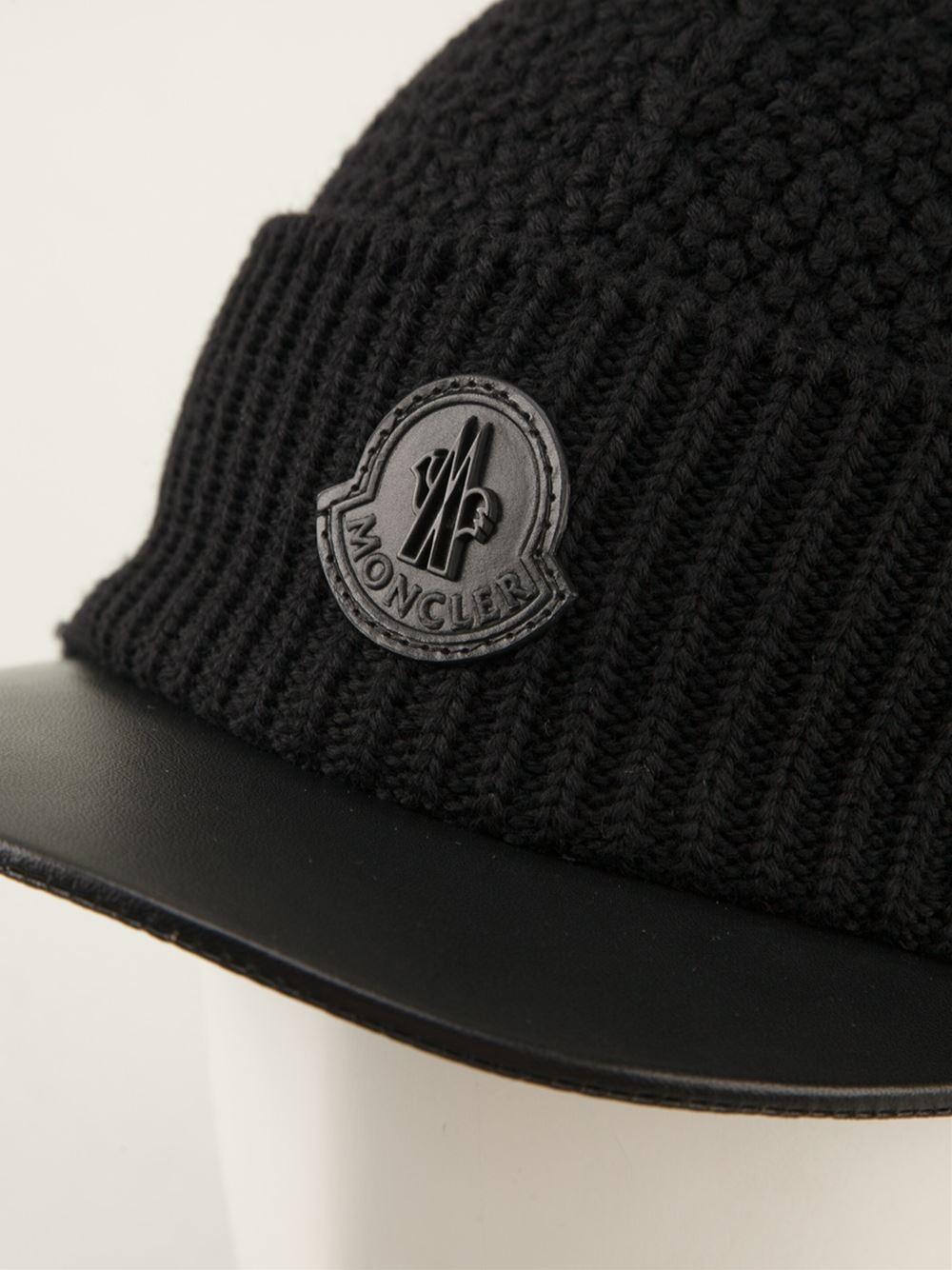 b6e8d9ffd50 Lyst - Moncler Knitted Visor Hat in Black for Men