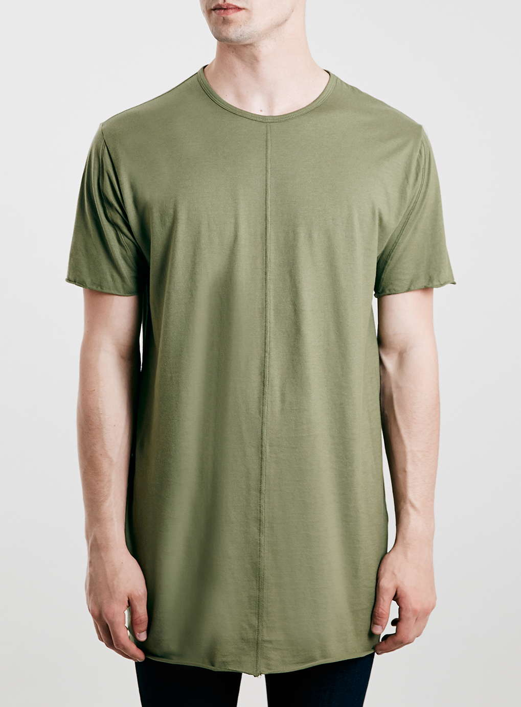topman khaki slim fit longline t shirt in green for men