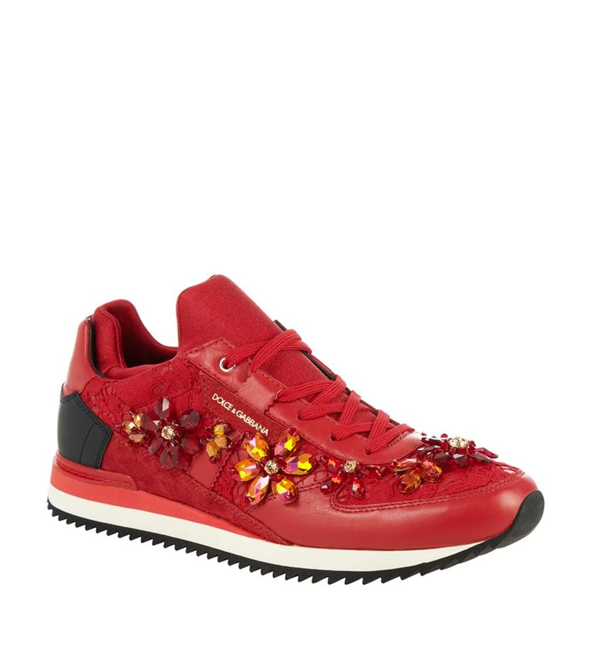 dolce gabbana crystal lace sneaker in red lyst. Black Bedroom Furniture Sets. Home Design Ideas