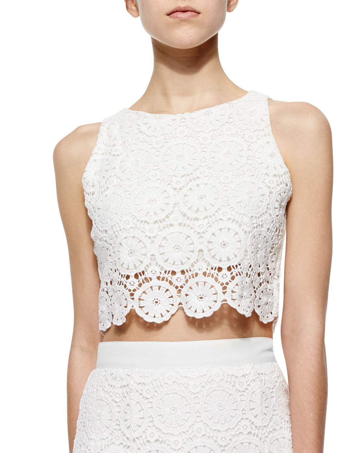 1165efacc97 Miguelina Rosi Floral-lace Crop Top in White